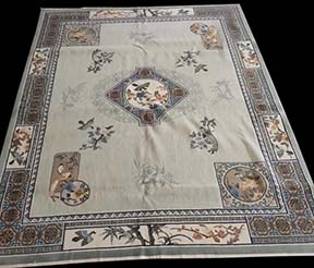Antique Chinese - Silk Rug - 21903 | Chinese 8' 2'' x 10' 2'' | Grey, Origin China, Circa: 1980