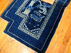 Antique Chinese - Horse Cover Rug - 21983 | Chinese 1' 10'' x 3' 8'' | Navy, Origin China, Circa: 1920