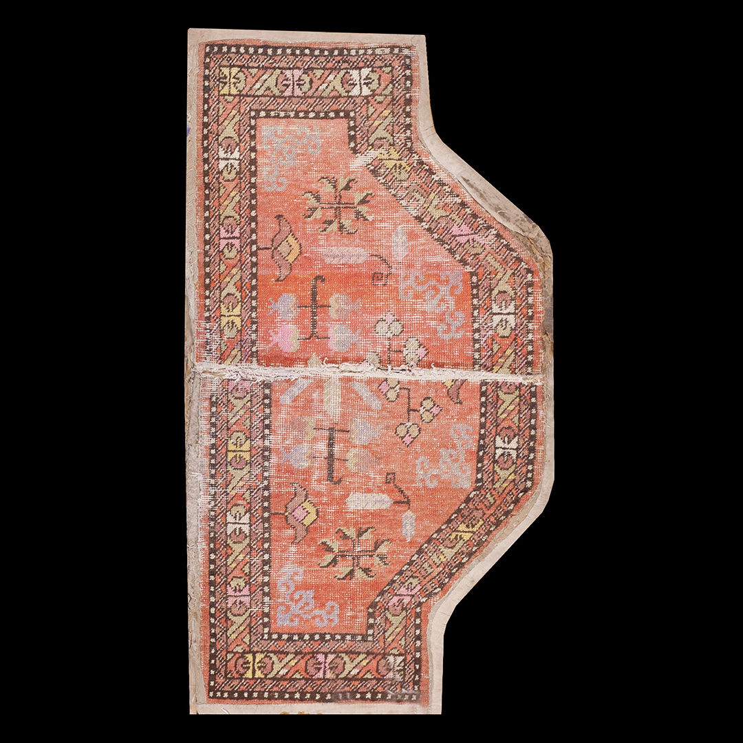 Antique Chinese - Horse Cover Rug - 21994 | Chinese 2' 2'' x 4' 0'' | Salmon, Origin China, Circa: 1890
