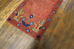 Antique American Hooked Rug - 6462 | American  2' 6'' x 11' 7'' | Red, Origin USA, Circa: 1910