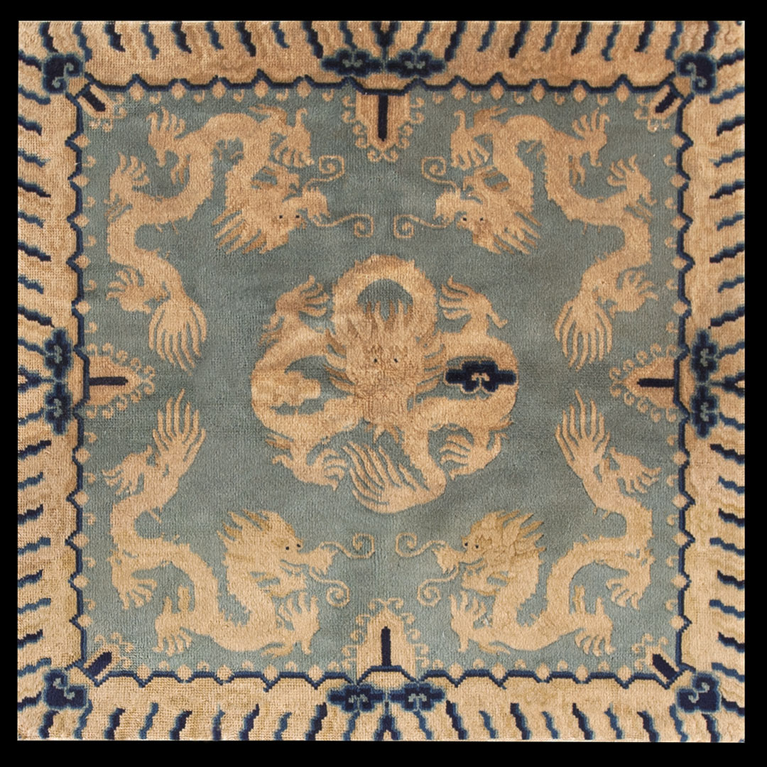 Antique Chinese - Peking Rug - 22893 | Chinese 3' 0'' x 3' 2'' | Blue, Origin China, Circa: 1910