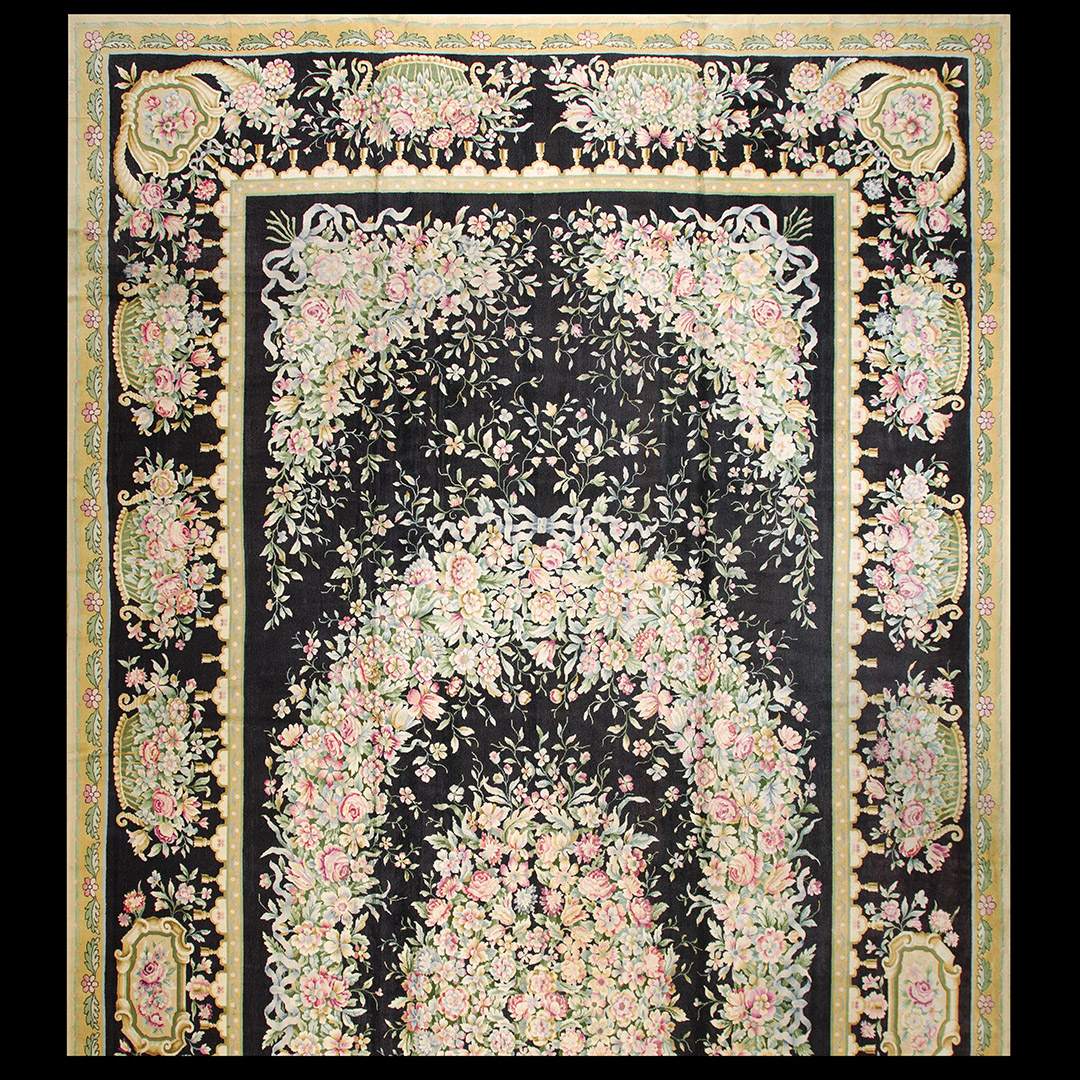 Antique Savonnerie Rug - 40-3023 | European 13' 8'' x 29' 6'' | Black, Origin Europe, Circa: 1900